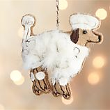 Furry Poodle Dog Brown Ornament