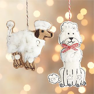 Furry Poodle Dog Ornaments