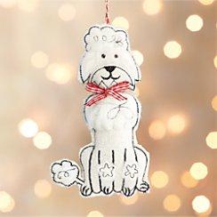 Furry Poodle Dog White Ornament