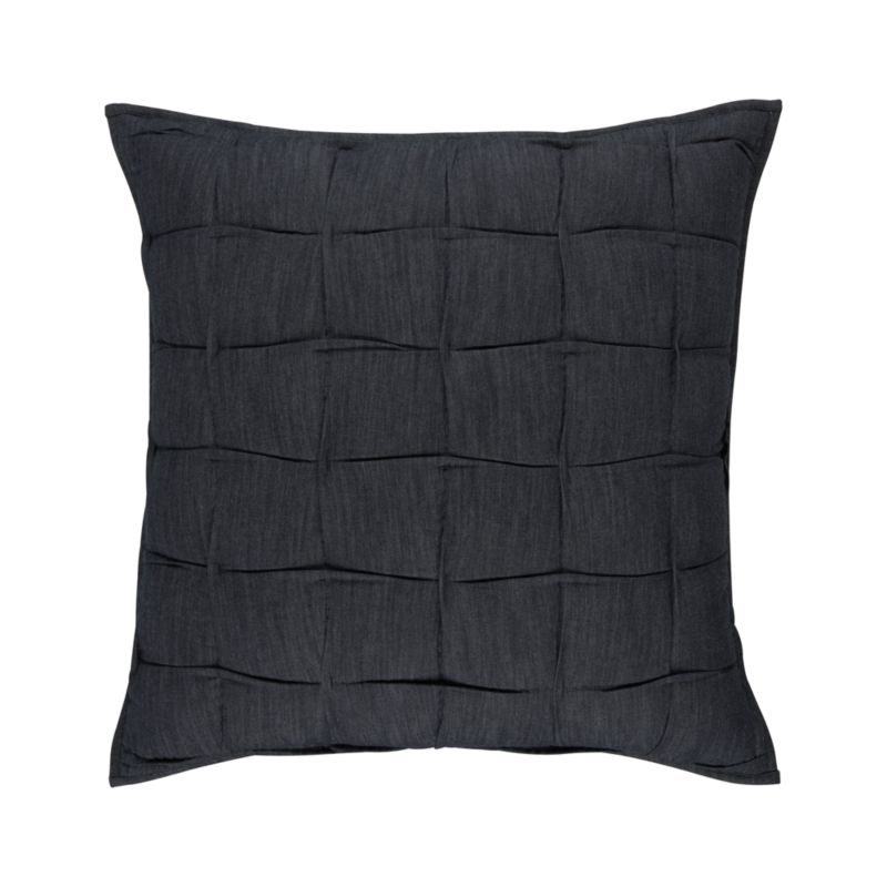 Dressed-up denim in handsome indigo is hand-quilted with a tucked grid effect for the casual-chic modern bedroom. Shams have generous overlapping back closures. Bed pillows also available.<br /><br /><NEWTAG/><ul><li>100% cotton fabric</li><li>100% polyester fill</li><li>Machine wash</li></ul><br />