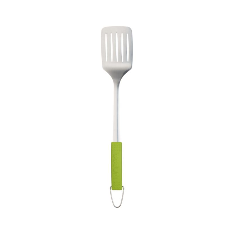 Long-handled grilling essential is finely crafted of chrome-plated stainless and cool-touch silicone with convenient hanging loop.<br /><br /><NEWTAG/><ul><li>By Bodum®</li><li>Stainless steel head</li><li>Heat-resistant silicone and plasiec handle</li><li>Dishwasher-safe</li></ul>