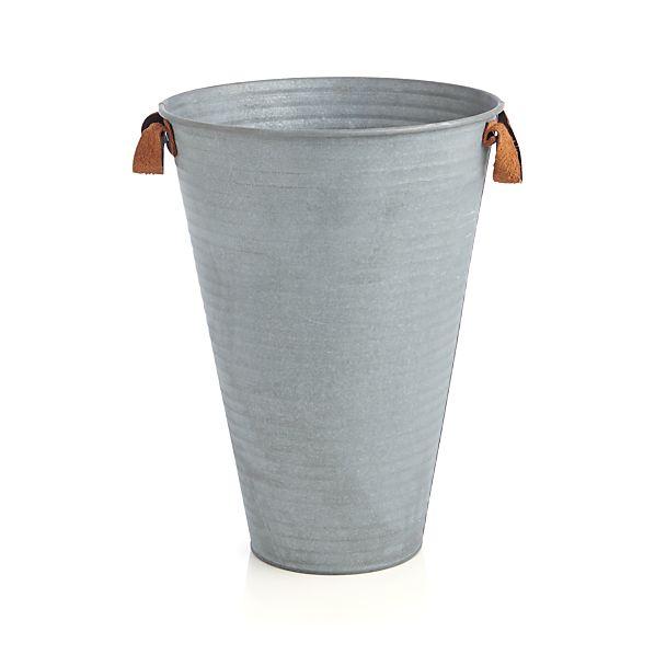 Galvanized Bucket Medium with Leather Handles