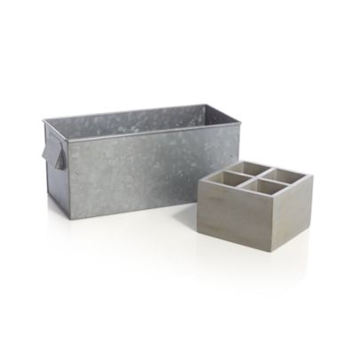 Galvanized Caddy with Tray