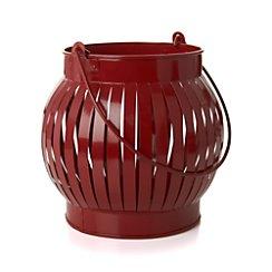 Galvanized Red Large Lantern