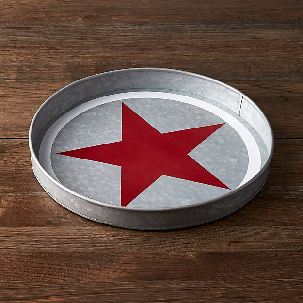 Galvanized Red Star Tray