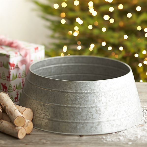 Galvanized tree collar in decor crate and barrel