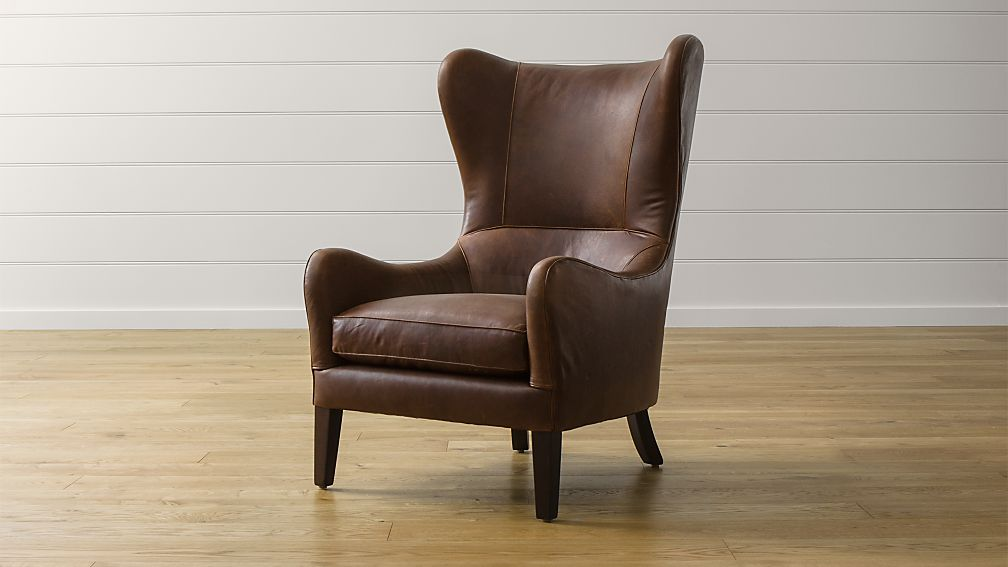Garbo Leather Wingback Chair Berkshire Bourbon Crate