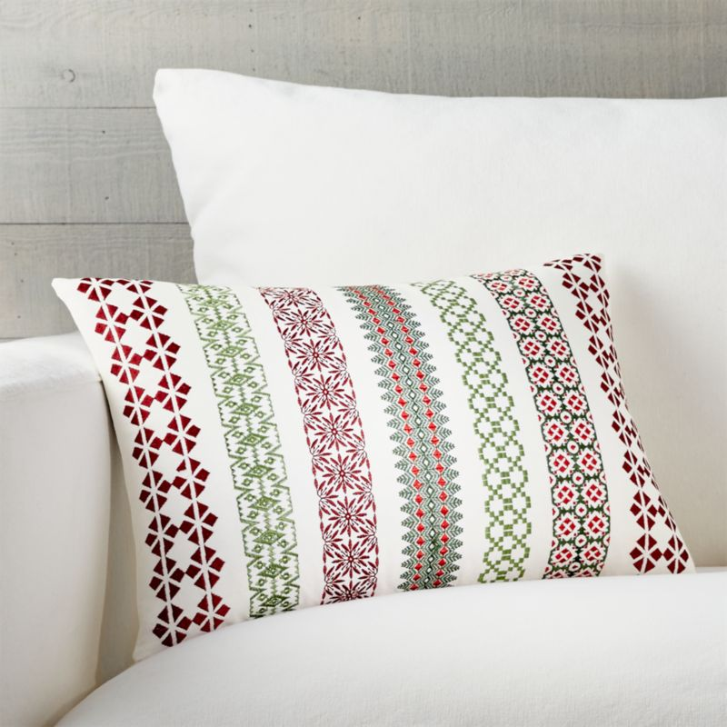 "Garland 18""x12"" Pillow with Feather-Down Insert"
