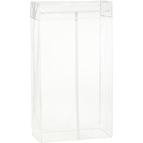 Work Mobile 3-Shelf Garment Rack Clear Cover