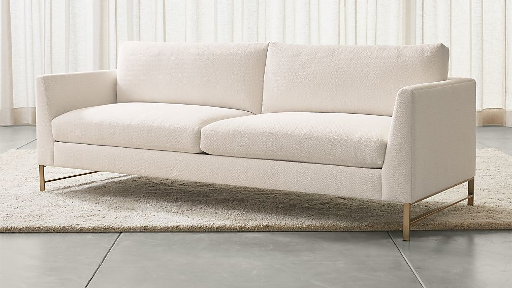 Genesis Sofa With Brushed Brass Base Vail Snow Crate