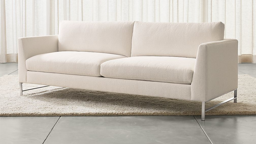 Extra Deep Seat Sofa Genesis Sofa with Brushed Stainless Steel Base Vail: Snow ...