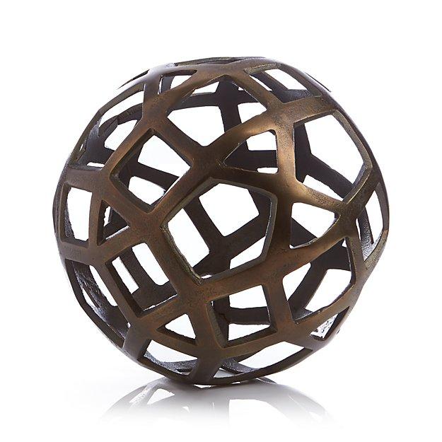 Geo large decorative metal ball crate and barrel - Massieve decoratieve tuin ...