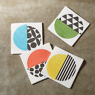 Set of 20 Geo Dot Paper Cocktail Napkins