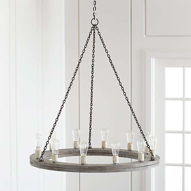 Geoffrey 36 Quot Round Wood Chandelier Crate And Barrel