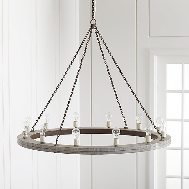Geoffrey 48 Quot Round Wood Chandelier Crate And Barrel