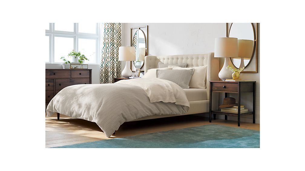 Gia upholstered full bed Crate and barrel bedroom set