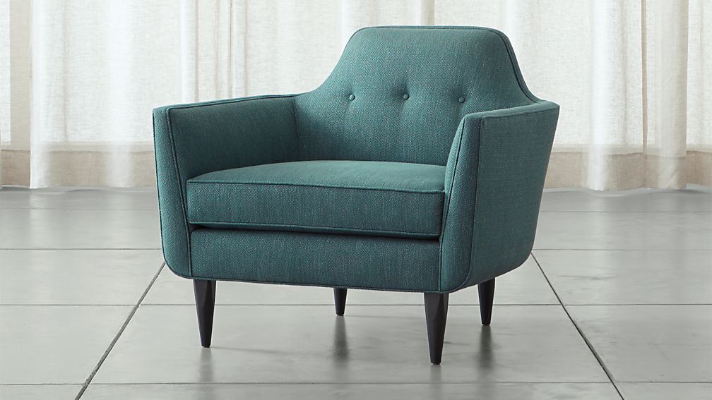 Gia teal blue mid century accent chair crate and barrel for Teal reading chair