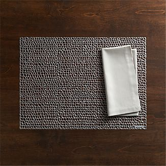 Chilewich ® Gilt Gunmetal Vinyl Placemat and Fete Dove Cotton Napkin