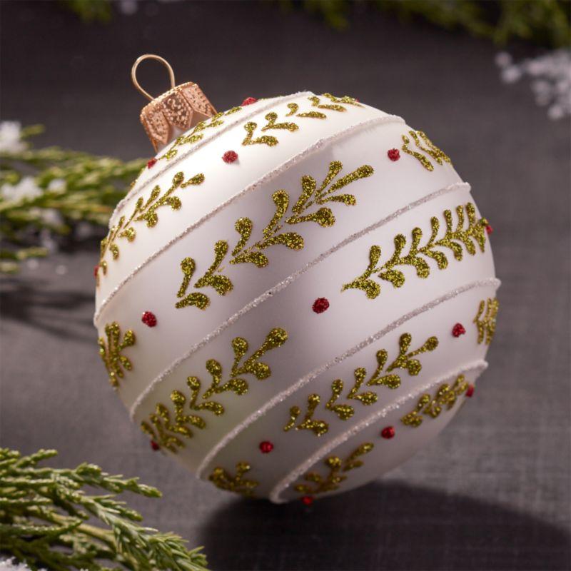 Glitter Vine White Ball Ornament