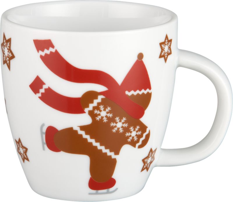 Kiddie-size mug features our whimsical gingerbread man in holiday sweater, scarf and stocking cap, skating through a scattering of graphic snowflakes on white porcelain.<br /><br /><NEWTAG/><ul><li>Porcelain</li><li>Dishwasher- and freezer-safe</li><li>Made in China</li></ul>