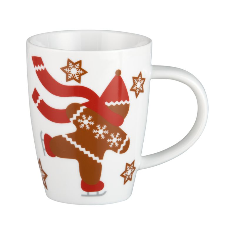 Ready to join you for a winter warmer, our whimsical gingerbread man in holiday sweater, scarf and stocking cap skates through a scattering of graphic snowflakes on white porcelain.<br /><br /><NEWTAG/><ul><li>Porcelain</li><li>Dishwasher- and freezer-safe</li><li>Made in China</li></ul>
