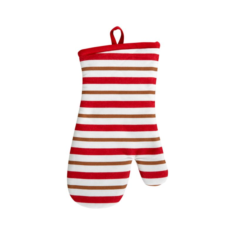 Stripes of gingerbread brown accent holiday red and white with a warm and toasty twist. Padded mitt is edged in red with convenient hanging loop.<br /><br /><NEWTAG/><ul><li>100% cotton outer shell</li><li>100% polyester wadding</li><li>Machine wash</li><li>Made in India</li></ul>