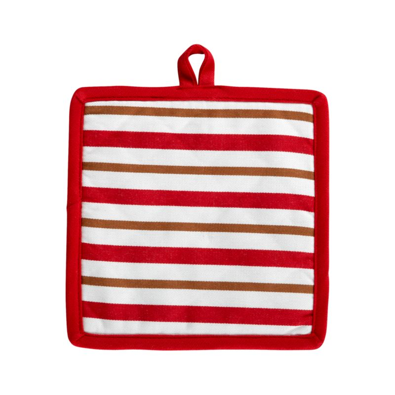 Stripes of gingerbread brown accent holiday red and white with a warm and toasty twist. Padded potholder is edged in red with convenient hanging loop.<br /><br /><NEWTAG/><ul><li>100% cotton outer shell</li><li>100% polyester wadding</li><li>Machine wash</li></ul>