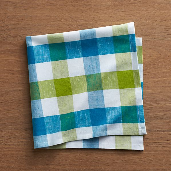 Gingham Green-Blue Napkin