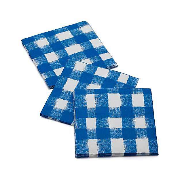 Blue Gingham Lunch Napkins Set of 20