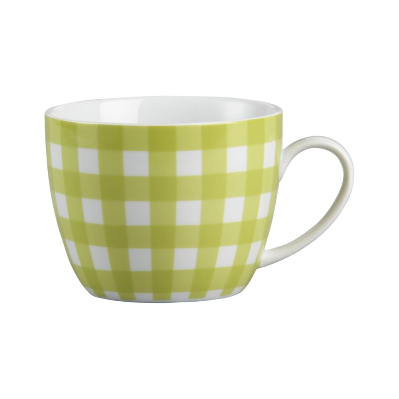 Fresh gingham plaid patterns friendly rounded mug in white porcelain.<br /><br /><NEWTAG/><ul><li>Porcelain with decal design</li><li>Dishwasher- and microwave-safe</li></ul>