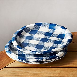 "Set of 12 Blue Gingham 9"" Paper Plates"