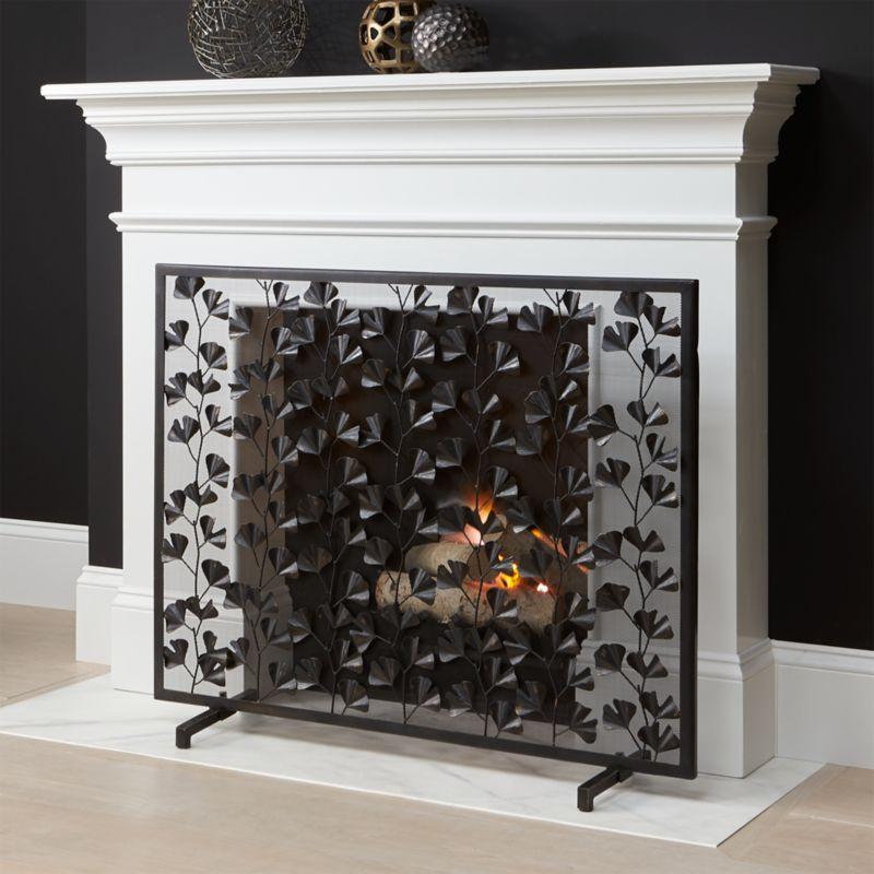 Ginkgo Bronze Fireplace Screen