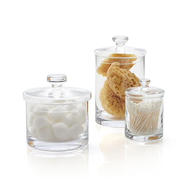 set of 3 glass canisters in bath crate and barrel