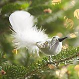 Glass Clip-On Silver-White Bird Ornament