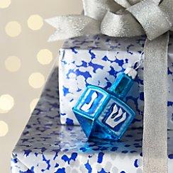 Glass Blue Dreidel Ornament