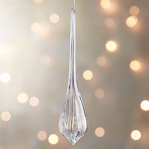 Glass Faceted Teardrop Icicle Ornament