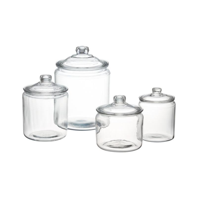 heritage hill glass jars with lids crate and barrel. Black Bedroom Furniture Sets. Home Design Ideas