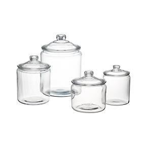 Heritage Hill Glass Jars with Lids -...