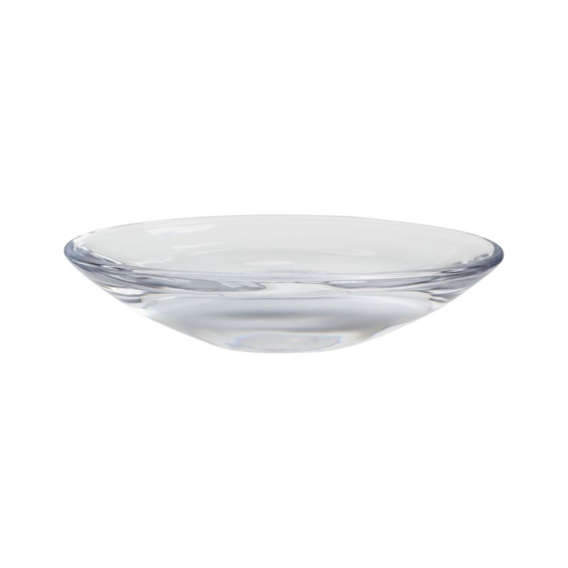A sleek, substantial oval of clear, fire-polished glass for clean, contemporary soap display.<br /><br /><NEWTAG/><ul><li>Clear glass</li><li>Fire polished</li><li>Dishwasher-safe</li><li>Made in China</li></ul>
