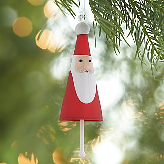 Glass Santa Bell Ornament