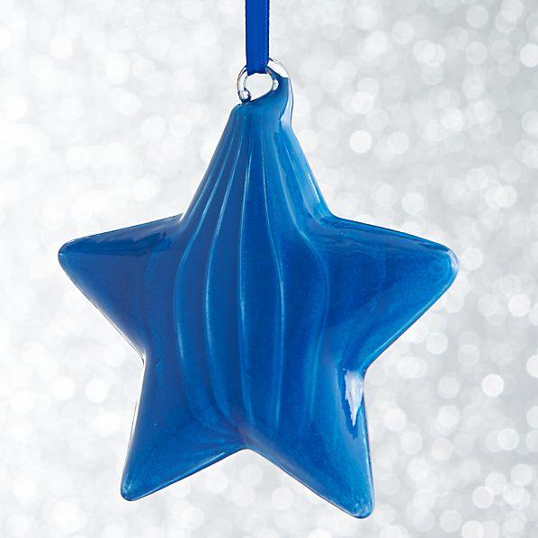 Blue Glass Star Ornament