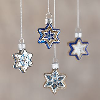 Silver and Blue Glass Star Ornaments Set of 4