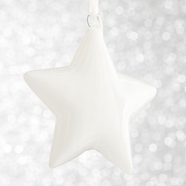 White Glass Star Ornament