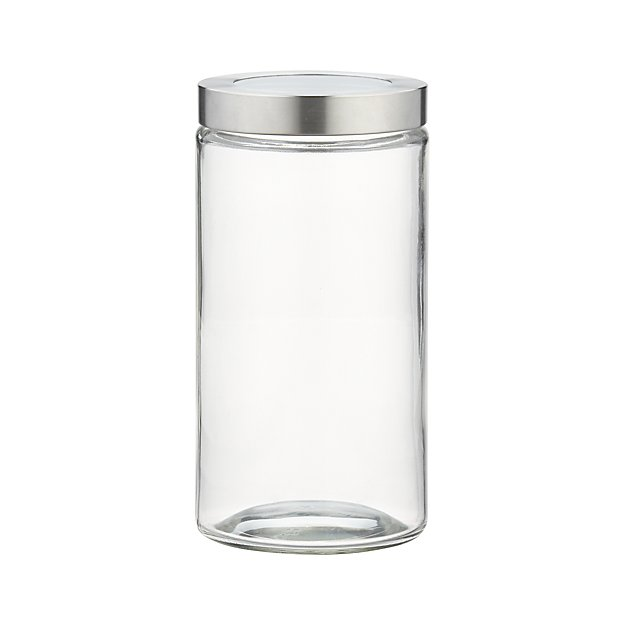 Medium Glass Storage Canister with Stainless Steel Lid
