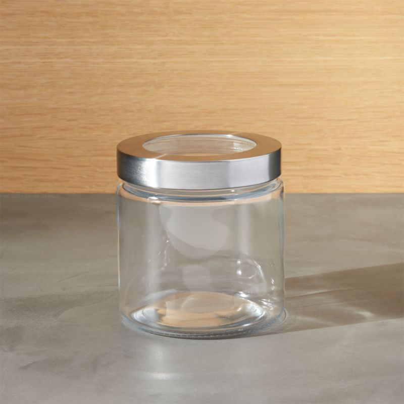 Extra Small Glass Storage Canister With Stainless Steel