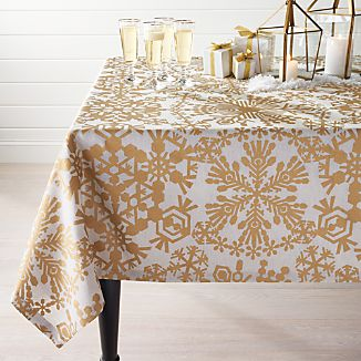 Golden Snowflake Tablecloth