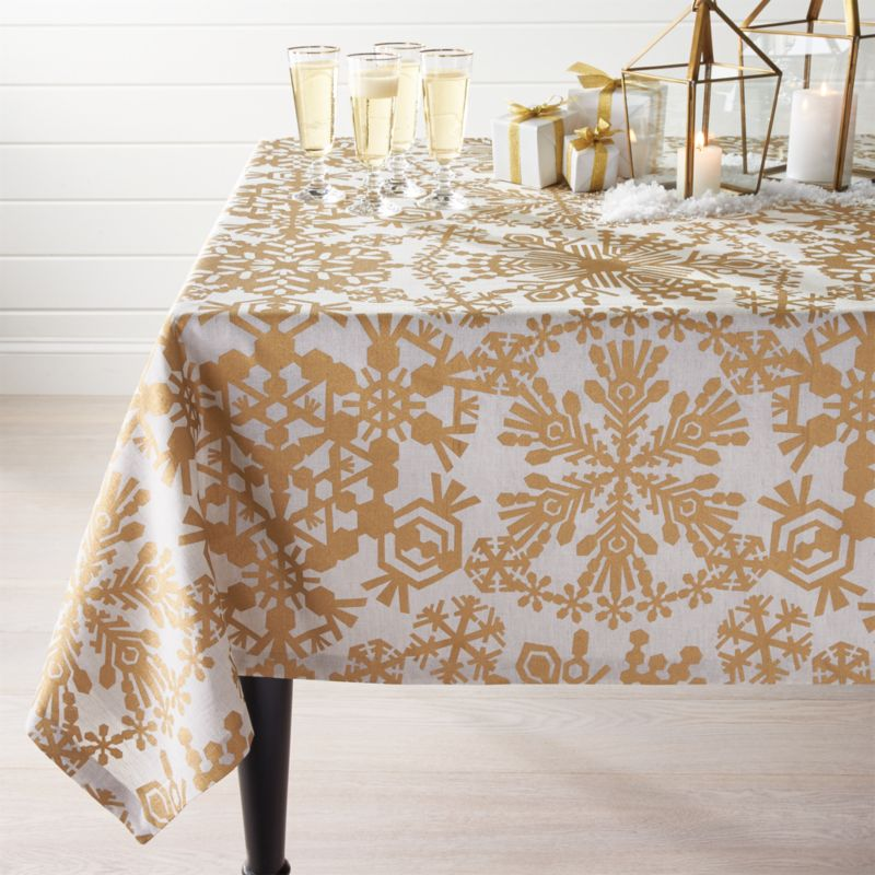 "Golden Snowflake Tablecloth 60""x120"""