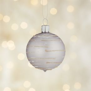 Glitter Flurry Line Lavender Ball Ornament