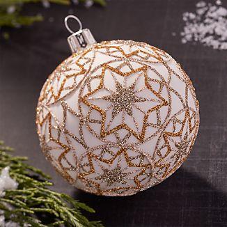 Glitter Starflake Gold Ball Ornament