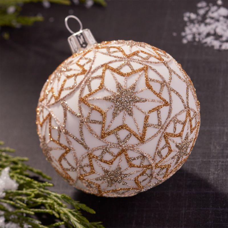 Glitter Starflake Gold Ball Ornament